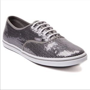 VANS Off the Wall Silver Gray Sequin Tennis Shoes